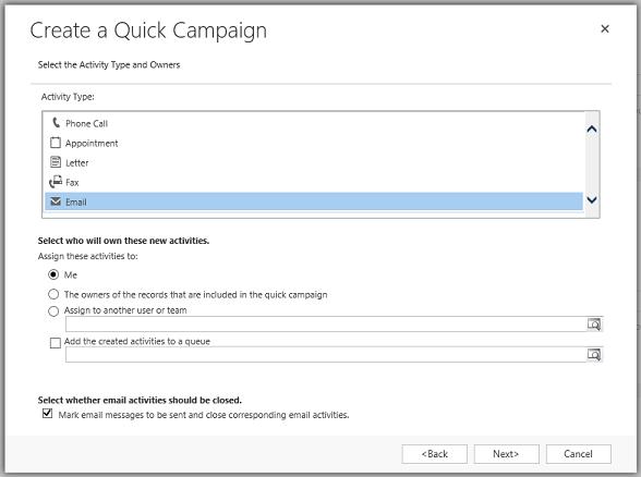 Kreator tworzenia szybkiej kampanii. Marketing w Microsoft Dynamics 365 Sales